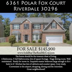 Riverdale home for sale. 4BR/3BA, huge master suite, huge dining room, well maintained, fenced backyard.