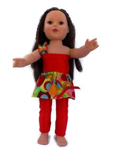 American Girl Doll Clothes, 18 in Doll, Red 3 piece set, gift, leggings, skirt, top. $14.00, via Etsy.