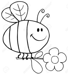 Outlined Happy Bee Flying With Flower In Sky Royalty Free Cliparts . Free Kids Coloring Pages, Animal Coloring Pages, Coloring Book Pages, Coloring Pages For Kids, Art Drawings For Kids, Outline Drawings, Drawing For Kids, Easy Drawings, Bee Crafts For Kids