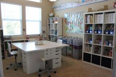 I say no to a school room but yes to organization! An IKEA School Room. Includes links to all of the IKEA products used to create this homeschool room. Craft Room Design, Craft Space, Space Crafts, Sewing Room Design, Playroom Design, Sewing Studio, Homeschool Supplies, Ikea Inspiration, Learning Spaces