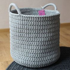 Crochet Knitted Storage Basket Laundry Basket Toy by MyGreyNest