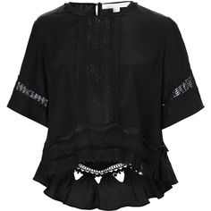 Jonathan Simkhai cropped peasant blouse (9,750 MXN) ❤ liked on Polyvore featuring tops, blouses, shirts, black, silk blouses, shirt blouse, peasant top, peasant shirt and crop shirts