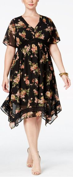 American Rag Trendy Plus Size Printed Handkerchief-Hem Dress, Only at Macy's Day Dresses, Plus Size Dresses, Casual Dresses, Fit Flare Dress, Fit And Flare, Handkerchief Hem Dress, Retro Mode, Trendy Plus Size Fashion, Short Sleeve Dresses
