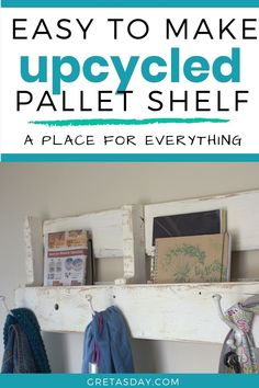 Have an old wood pallet laying around? Upcycle it into this really great shelf with a coat rack. Perfect for Shabby Industrial, French Country, Reclaimed, and Cottage Chic home decor designs. Pallet Coat Racks, Pallet Shelves, Industrial Chic, Industrial Living, School Gifts, Old Wood, Cottage Chic, Wood Pallets, Decorating Your Home