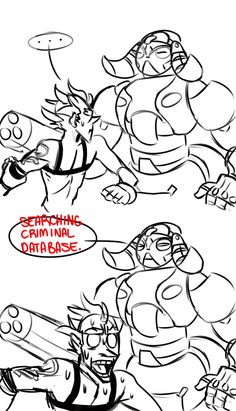 Overwatch Junkrat (Jamison Fawkes) and Orisa comic by coldstonedjones on Tumblr