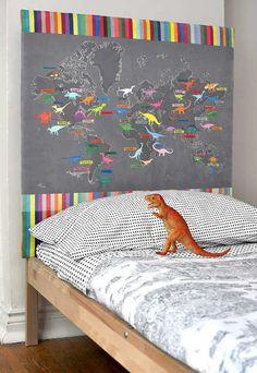 kids room decor - dinomap upholstered headboard - spoonflower via atticmag