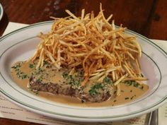 Steak Frites with Black Peppercorn Sauce from CookingChannelTV.com
