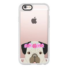 iPhone 6 Plus/6/5/5s/5c Case - Pug funny expression wearing flowers on... ($40) ❤ liked on Polyvore featuring accessories, tech accessories, iphone case, iphone cell phone cases, iphone hard case, iphone cover case, apple iphone cases and flower iphone case