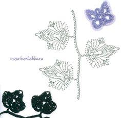 ergahandmade: 100 Crochet Flowers + Diagrams ( Part 2 ) Crochet Leaf Patterns, Crochet Leaves, Knitted Flowers, Crochet Diagram, Crochet Chart, Crochet Motif, Crochet Stitches, Knit Crochet, Lace Flowers
