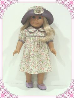 Purple Floral Dress Hat Doll Clothes Fit American Girl | eBay