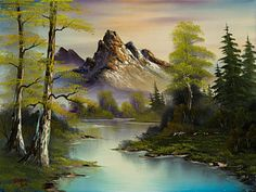 Bob Ross Painting - Mountain Evening by C Steele