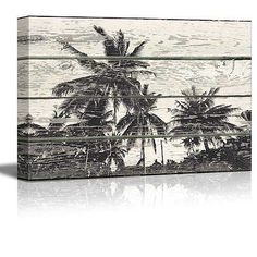 Palm Tree WoodCut Print Artwork - Rustic Canvas Wall Art Home Decor - 12x18