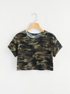 SheIn offers Camo Print Crop Tee & more to fit . SheIn offers Camo Print Crop Tee & more to fit your fashionable needs. Source by lorexia Girls Fashion Clothes, Teen Fashion Outfits, Mode Outfits, Outfits For Teens, Girl Outfits, Ootd Fashion, Fashion Black, Fashion Women, Fashion Ideas