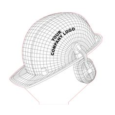 Worker helmet 3d illusion lamp plan vector file for CNC - 3bee-studio