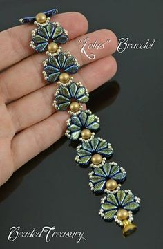 LOTUS beadwoven flower bracelet tutorial. The digital tutorial is written in English language and includes: - information on materials and tools needed, -step by step instruction with photos and text. Technique: bead weaving. Skill level: Advanced Beginner to Intermediate Materials: