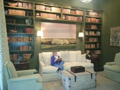 Home library Banquette, Book Nooks, Bookcase, Favorite Things, Loft, Shelves, Bed, Furniture, Ideas