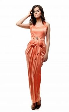 verezhik house ......... long peach  dress...... Material: 49% ...viscose, 35% silk%, .....14% polyamide, ..........2% elastan.