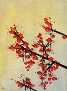 "Saatchi Online Artist Lily Greenwood; Mixed Media, ""Vermillion Blossoms"" #art"
