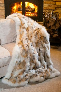 Golden Island Fox Fur Blanket Overland Sheepskin Co…