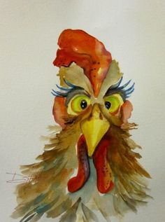 Cross Eyed Rooster, painting by artist Delilah Smith Rooster Painting, Rooster Art, Watercolor Bird, Watercolor Paintings, Original Paintings, Watercolors, Chicken Painting, Chicken Art, Art Fantaisiste