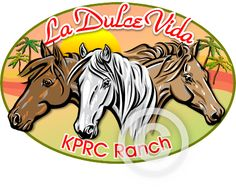A full color custom horse logo design created for La Dulce Vida - KPRC Ranch in Florida. I don't usually design logos with this much detail. Does make a great tee-shirt design. You can order a custom horse logo design from Horse-Logos.com