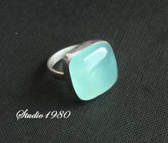 Chalcedony Jewelry, Sea Green Chalcedony ring, Square ring handmade sterling silver, Size 5.5 other sizes also available. $45.00, via Etsy.