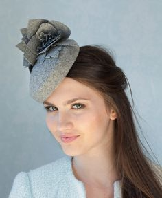 Grey wool pillbox hat with flowers, vintage inspired millinery hat, Kate Middleton