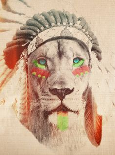 Lion with Headdress..He's ready to roar Trick or Treat.