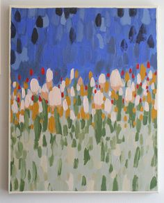 16 x 20 Acrylic Abstract Flower Field / Original Painting / Blue / Gold / Red / Green. $52.00, via Etsy.