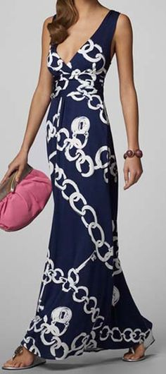 Lily Pulitzer resort navy blue and white chain link maxi dress