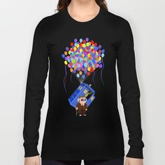 Cute Old 10th doctor who with flaying tardis  LONG SLEEVE T-SHIRT #longsleeve #tee #tshirt #clothing #drawing #digital #inkpen #coloredpencil #popart #comic #illustration #up #tardisdoctorwho #tardis #doctorwho #doctorwho #baloons #davidtennant #phonebooth #phonebox #sciencefictions