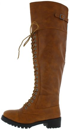 COMMANDER CHESTNUT PU KNEE HIGH COMBAT LUG BOOT ONLY $25.88