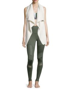 Cozy-Up Draped Sport Vest, Trace 2 Colorblock Sports Bra & High-Waist Moto Sport Leggings with Mesh Panels by Alo Yoga at Neiman Marcus.