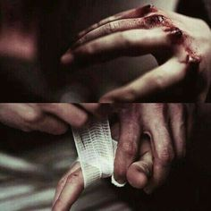 He took her bruised and bloody hands in his and bandaged them gently. Speaking soothingly to her as tears silently rolled down her cheeks. - E Ciranni