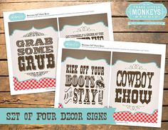 These Vintage Cowboy Signs are perfect for framing and decorating at your cowboy bash!    It matches our Vintage Cowboy Invitation sold