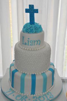 Blue & White Christening Cake for a boy