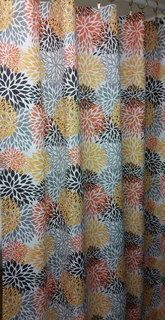 Fabric shower curtain Blooms Chili Pepper Slub by kirtamdesigns