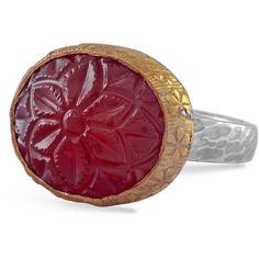 Emma Chapman Jewels - Bodhi Carnelian Ring ($210) ❤ liked on Polyvore featuring jewelry, rings, carnelian ring, statement rings, carnelian jewelry, hammered ring and polish jewelry