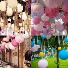 "6"" 8"" 10""  Inch Multicolor Chinese Traditional Wedding Round Paper Lantern Hanging Wedding Party Decoration Lampion Rice Lamp-in Event…"