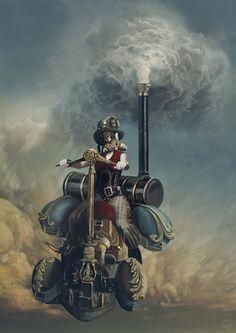 Pretty cool looking #steampunk land skimmer! Illustration by Jacek Rudowski, http://q2jacek.deviantart.com/art/Steam-405054799