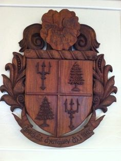 Hand carved crest at CU. I love this!