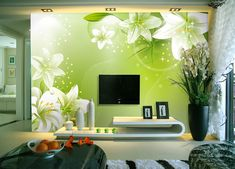 Get creative wall painting designs & ideas for a stylish home decor.Latest home painting colour ideas & designs for bedrooms, living rooms and more at Asian Paints. Room Wall Colors, Wall Paint Colors, Paint Colors For Living Room, Room Wall Decor, Living Room Decor, Living Rooms, Green Floral Wallpaper, Modern Wallpaper, Wall Wallpaper