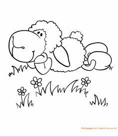 דף צביעה ניקי הכבשה מסתלבטת