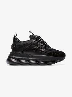 Shop Versace Chain Reaction chunky heel sneakers from our Sneakers collection. Brown Sneakers, Leather Sneakers, Versace Sneakers, Versace Chain, Converse, Vans, Chain Reaction, Wearing All Black, Latest Sneakers