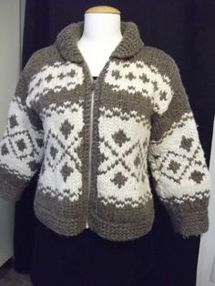 Vintage Thick Hand Knit Cowichan Sweater - US $75.00