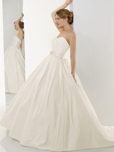 Gentle Empire waist Strapless Sweetheart Ball gown Sash A-line Pleated Satin Wedding Dress