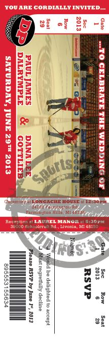Hockey themed wedding ticket invitation featuring a photo of you! Get a quote today! #weddingticket #stwdotcom