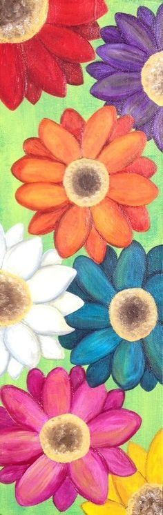 Mexican Folk Art Flowers Modern Gerber Daisies Original Painting_AMBROSINO  #MexicanFolkArt