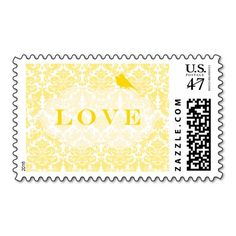 Yellow Damask Love Birds Postage