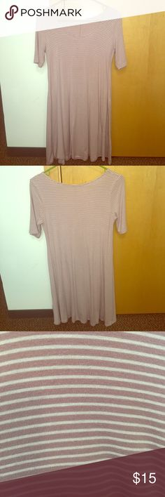 Mauve and White Striped T-Shirt Dress A very comfortable, casual mauve/white striped dress! Pairs nicely with a jean jacket or necklace! Heart Hips Dresses Mini